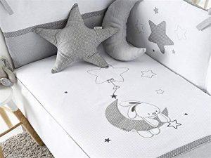 Pirulos Luna Bonito Conjunto Edredón + Protector/Chichonera + Cojín para Cuna Bebé de 60x120 cm, Color Blanco y Gris 6