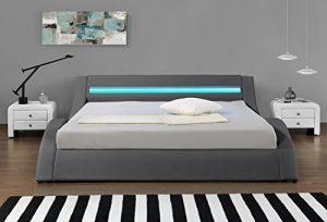 HYPNIA - Cama Design LED gris-180 x 200 (cm) 4