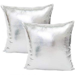 JOTOM Brillantes Fundas de Almohada de Color sólido para sofá Cama Fundas de Cojín Decorativos,45X45cm,Juego de 2 (Plata) 1