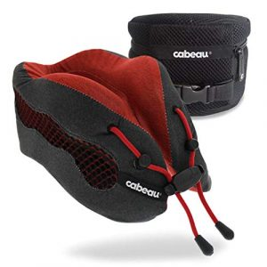 Cabeau Evolution Cool Travel Pillow- The Best Air Circulating Head Neck Memory Foam Cooling Travel Pillow - Red 5