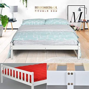 Estructura de la cama de pino macizo natural, resistente, color blanco, color transparente, blanco DOUBLE BED FRAME 1