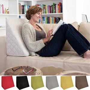 La Almohada Tipo Cuña increíble - para Su Sala De Estar o Su Recamara, Almohada para Leer con Un Sentado Relajado Diseño De Moda (Beige) 10
