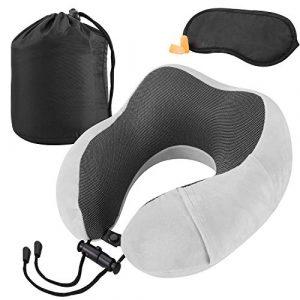 KEAFOLS Almohada de Viaje Almohada de Cuello Cojin de Viaje Almohada de Espuma de Memoria Almohadas de Acampada para Avión Coche Hogar y Oficina 3