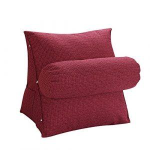 oamore Comodidad Almohada de Lectura Cojín de Soporte Lumbar Almohada de TV - para iPad Lectura electrónica y sofá (Vino Tinto, M:47x45x23cm) 3