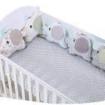 protector cuna,Creativo Baby Algodón Cot Liner Bumper, Adorable forma de elefante Polka Dot Star Crib Bed Bumper para Niños Pequeños - 6 piezas 19