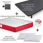 MICAMAMELLAMA Colchón Viscoelástico VISCO Confort Fresh 3D Reversible + Base Tapizada con Patas 26cm + 2 Almohadas Microfibra Mash (150 x 190) 20