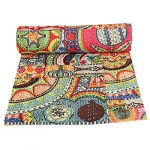Colcha de algodón Kantha de parche indio, manta para cama de matrimonio (multifloral), colcha bohemia, colcha bohemia, colcha kantha hecha a mano, edredón kantha 7