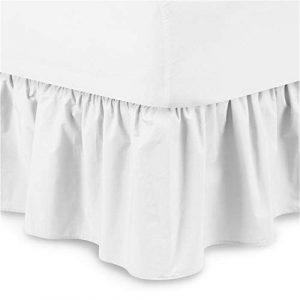 Chengstore falda de cama de color puro sin superficie de cama, faldas de cama elásticas con volantes, fácil ajuste y llena de ambiente cálido, Blanco, A:150*200+38cm 9