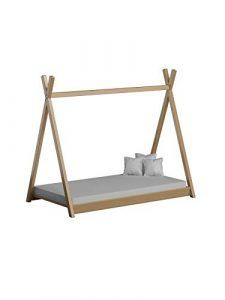 Children's Beds Home Cama Individual con Dosel de Madera Maciza - Estilo Titus Tepee para niños Niños Niño pequeño - Sin colchón Incluido (190x90, Natural) 1