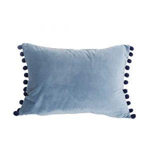 DOKOT Terciopelo Fundas de Almohada Soft Decorativa Fundas de Cojín Caso con Pompón para Sofá Dormitorio Auto 30 x 50 cm Gris Azulado 10