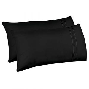 Lirex 2-Pack Fundas de Almohada, Tamaño Baby Fundas de Almohada de Microfibra Suave Cepillada, Transpirables sin Arrugas y Lavables a Máquina (Negro, Baby) 5