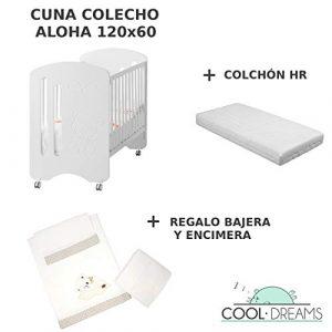 Cuna colecho de bebe Aloha + Ruedas + Kit colecho incluido + Colchón HR 9