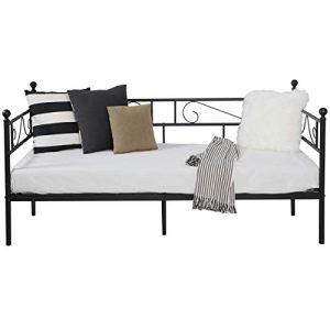 Aingoo sofá Cama Armadura de Cama con tablillas Cama de día Cama de Invitados 90 x 190 CM (Negro) 7