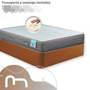 Mi Cama Me Llama Canapé de Madera Cheap + Colchón viscoelástico Reversible Premium - Montaje Incluido (135x190, Cerezo) 1
