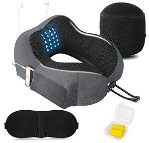 Almohada de Viaje Cervical Viscolástica Ortopédica - Almohada de Cuello,Almohadas de Acampada,Soporte de Cuello,con Máscara de Ojos 3D y Tapones para los oídos,Adecuada para Viajes,Oficina (Gris). 6