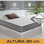 Dormi Premium Elax 30 - Colchón Viscoelástico, 140 x 200 x 30 cm, Algodón/Poliuretano, Blanco/Gris, Matrimonio 12