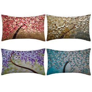 Thmyo 4 Fundas de Almohada, Fundas de cojín de Lino y algodón para sofá, Cama de 12 x 20 Pulgadas (Solo Funda, sin Relleno) 2