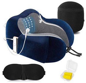 Almohada de Viaje Cervical Viscolástica Ortopédica - Almohada de Cuello,Almohadas de Acampada,Soporte de Cuello,con Máscara de Ojos 3D y Tapones para los oídos,Adecuada para Viajes,Oficina (Azul). 1