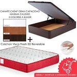 Mi Cama Me Llama Pack Canapé de Madera Cheap + Colchón Viscoelástico VISCO Confort Fresh 3D Reversible - Montaje Incluido (Cerezo, 150x190) 13