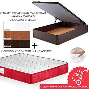 MICAMAMELLAMA Pack Canapé de Madera Cheap + Colchón Viscoelástico VISCO Confort Fresh 3D Reversible - Montaje Incluido (Cerezo, 150x190) 6