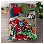 Meet Juego De Cama Graffiti De Color Hip Hop Funda Nórdica Y Funda De Almohada 80% Microfibra + 20% Algodón con Cremallera Oculta (Estilo 03,(180x220 cm)-Cama de 105/135) 20