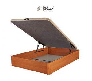 DHOME Canape Abatible Tapizado 3D 4 válvulas Maxima Calidad Esquinas canapé Madera (90x190 Nogal, 22mm) 1
