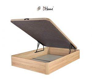 DHOME Canape Abatible Tapizado 3D 4 válvulas Maxima Calidad Esquinas canapé Madera (105x200 Roble, 22mm) 1