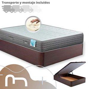 MI CAMA ME LLAMA ESPECIALISTAS EN DESCANSO Canapé de Madera Cheap + Colchón viscoelástico Reversible Premium - Montaje Incluido (Wengue, 150x190) 7
