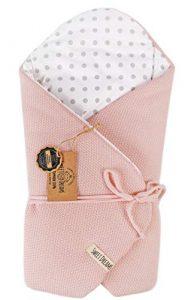 Almohada de lactancia 100% algodón 75 x 75 cm - Doble cara - Suave - Multifuncional - Hipoalergénico - Super suave 1024 Manta para bebé (Rosa polvo/puntos) 4