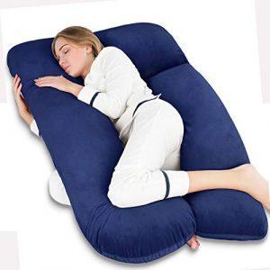 QUEEN ROSE Almohada para el Embarazo - En Forma de U - Almohada para el Cuerpo del Embarazo - para Cuello/Espalda/Piernas con Funda de Almohada para el Cuerpo (Peluche, Azul) 2