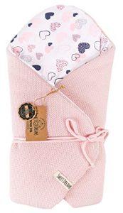 Almohada de lactancia 100% algodón 75 x 75 cm - Doble cara - Suave - Multifuncional - Hipoalergénico - Super suave 1024 Manta para bebé (Rosa/corazón) 8