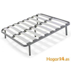 Hogar24 Somier Laminas Madera Haya vaporizadas con Tacos Anti-Ruido, Tubo de Acero 40 x 30, con Juego de 5 Patas roscadas Incluido de Altura 32cm-135x200, Haya 4