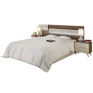 duehome HomeSouth - Cabezal con Led para Cama de Matrimonio, cabecero Modelo Lica Led, Color Trufa y Cañon Blanco, Medidas: 200 cm (Ancho) x 55 cm (Alto) x 3 cm (Fondo) 4