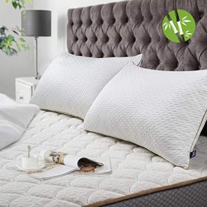 BedStory Almohadas Bambú 42x70 Almohada 2 Pack con Funda de Lavable Almohada Antiácaros con 90% de 3D Fibra + 10% de 7D Fibra de poliéster Relleno de Almohadas de Calidad Hotelera 5
