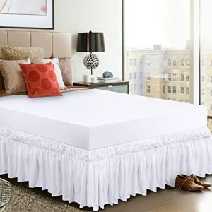 Utopia Bedding Elastic Bed Valance Skirt with Ruffles - Soft Brushed Microfibre Ruffle Drop: 40 cm - (Single 99 x 190 cm, White) 7