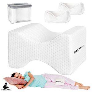 Almohada de apoyo a la rodilla, almohada de espuma viscoelástica para piernas con 2 fundas lavables, para dormir lateral, ortopédico, embarazo, nervio ciático y alivio del dolor de espalda de cadera 4
