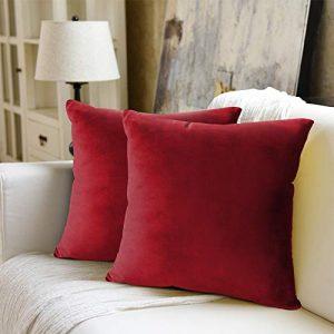 WEYON Juego de 2 fundas de cojín de terciopelo decorativas con cremallera oculta resistente para sofá, dormitorio o coche, terciopelo, Color rojo., 50 x 50 cm 2