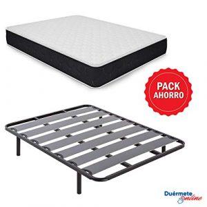 Duérmete Online - Pack Ahorro Cama Completa con Colchón Viscoelástico Pocket Visco + Somier Lama Ancha + Patas Roscadas, 90x190 10