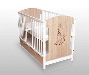 Sonoma - Cuna para bebé (120 x 60 cm, con colchón y cajón), color blanco 9