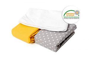 Juego de 2 sábanas bajeras + 1 protector de colchón impermeable, 120 x 60 cm, 3 unidades, 100% algodón certificado Öko-Tex (gris lunares y amarillo) fabricado en Europa 2