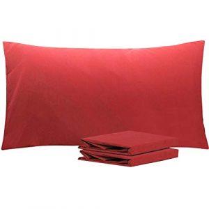 NTBAY Fundas de Almohada de Microfibra, Paquete de 2 Fundas de Almohada con Cierre Suave Antiarrugas y Resistente a Las Manchas, 50x90 cm, Vino Rojo 10