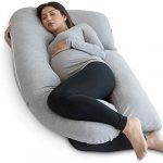 Pharmedoc Almohada De Embarazo con Cubierta De Jersey, Almohada De Cuerpo Completo En Forma De U Pregnancy Pillow with Jersey Cover, U Shaped Full Body Pillow (Jersey Gris) 16