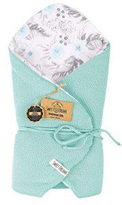 Almohada de lactancia 100% algodón 75 x 75 cm - Doble cara - Suave - Multifuncional - Hipoalergénico - Super suave 1024 Manta para bebé (Menta/en el jardín) 10