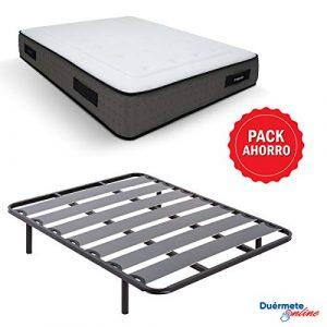 Duérmete Online - Pack Ahorro Cama Completa con Colchón Viscoelástico Visco Premium Biogel + Somier Lama Ancha + Patas Roscadas, 150x190 2