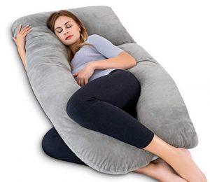 QUEEN ROSE Almohada para el Embarazo - En Forma de U - Almohada para el Cuerpo del Embarazo - para Cuello/Espalda/Piernas con Funda de Almohada para el Cuerpo (Peluche, Gris) 2