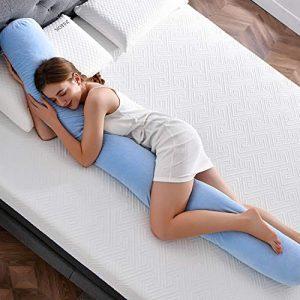 NOFFA Almohada de cuerpo entero, almohada larga de embarazo con espuma viscoelástica triturada, soporte para espalda, caderas, piernas, vientre (200 x 20 x 20 cm) 6