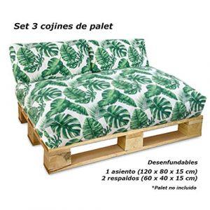 VIP HOGAR Set 3 Cojines desenfundables para palets (1 Asiento + 2 respaldos) (Palmito) 3