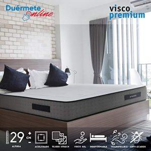 Duérmete Online Colchón Viscoelástico Visco Premium Biogel | Altura 29cm | Alto Confort y Máxima Higiene | Tejido Sanex Antibacteriano, Gel, 135x190 1