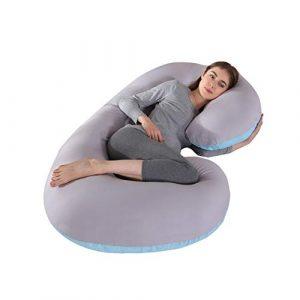 KINGSON Almohada Embarazada Dormir en Forma de C,Multifuncional Embarazo Almohada de Cuerpo Completo Mejorar Sueño con Funda de Algodón Extraíble y Lavable (C Forma-Azul&Gris, Algodón) 3