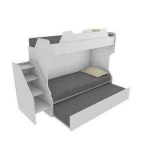 MOBILFINO CAMERETTE SMARTR Litera con tercera cama extraíble y elevable, 80 x 190 cm, fabricada en Italia, color blanco 3